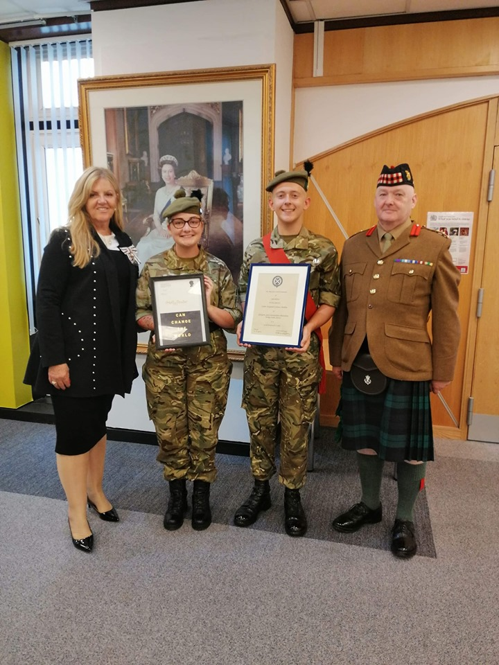 Presentation to Army Cadet and Sergeant